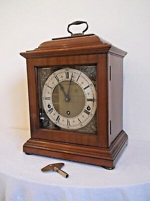 A WONDERFUL 3 TRAIN  WALNUT BRACKET CLOCK  PLAYING WESTMINSTER CHIME in VGC+