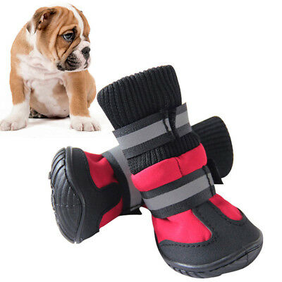 UK 4PCS Pet Dog Waterproof Winter Warm Snowboot Rain Shoes Puppy Non-Slip Boots