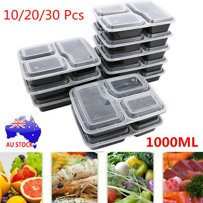 10-30 PCS Microwavable Meal Prep Containers Plastic Food Storage Reusable Box S4