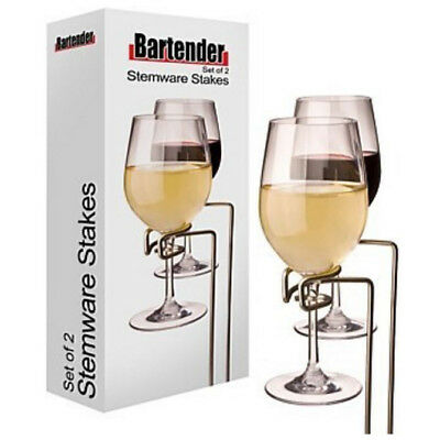 Genuine! D.LINE Bartender S/S Stemware Stakes Set of 2 Picnic Wine Glass Holders