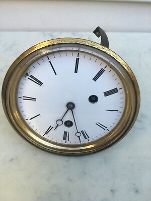 c. 1880 French Clock 8 Days ½ hr Bell Strike Japy Movement White Enamelled Large