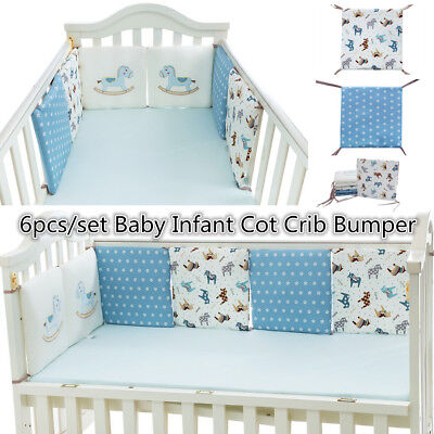 6pcs Cotton Baby Infant Cot Crib Bumper Protective Toddler Nursery Bedding Pad