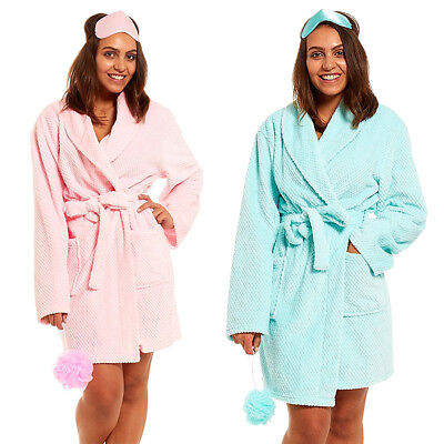 Womens Ladies Soft Waffle Fleece Robe Eye Mask Sponge Short Gown Gift Set BNWT