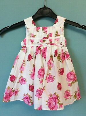 New Monsoon Ivory & Pink Floral Dress Size 0-3 Months