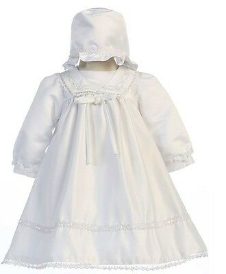 New Baby Girls White Baptism Dress Christening Dedication Gown w/ Bonnet 88064F