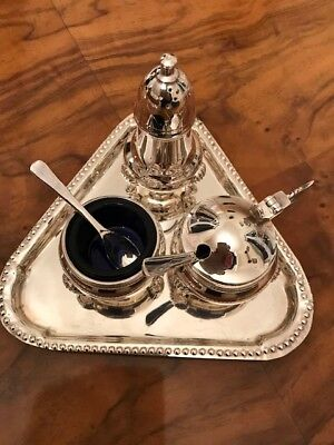 Reduced Antique Silver Plated 3 Piece Condiment Set with Blue Glass Liners