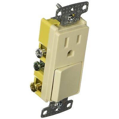 Hubbell Rocker Combo 3 Way Switch and Receptacle Almond