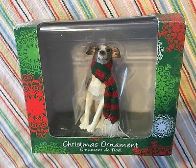 Sandicast Christmas Ornament Greyhound Dog With Red Green Scarf