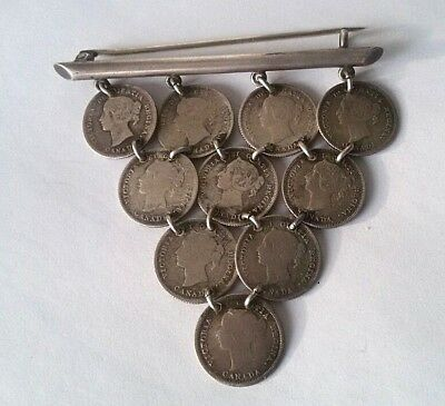 Brooch of coins Canadian Confederation 5 cents. 925 Silver 19th century