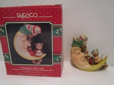 Enesco 1992 CHRISTMAS NITE CAP Ornament Fourth Issue Mouse on the Moon NEW