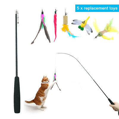 Interactive Retractable Cat Feather Teaser Wand Rod with 5 Attachment Kitten Toy
