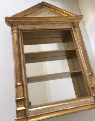 Vintage Wall Gold Gilt Glass DISPLAY CASE CABINET CURIO Neoclassical ~ITALY