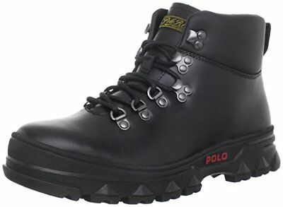 Polo Ralph Lauren HAINSWORTH Mens BLACK LEATHER HI TOP BOOTS size 9.5 NEW