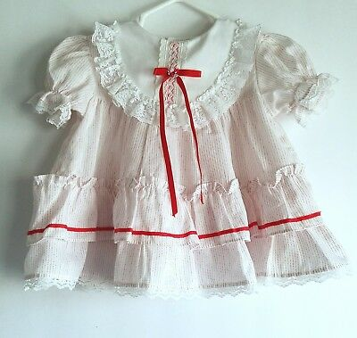 Vintage Infant Baby Girl Red White Dress Sears USA Ruffle Christmas Valentines
