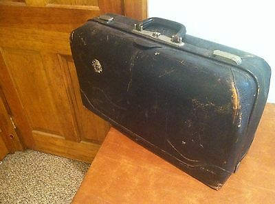 LARGE Antique Vintage Leather Doctor Style Suitcase Bag Travel Trunk