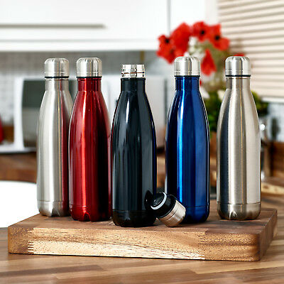 500ML Thermal Walled Stainless Steel Insulated Vacuum Water Bottle Hot Cold UK