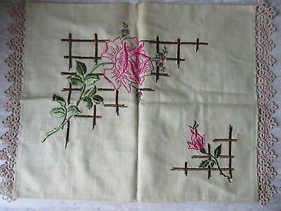 Amntique Floral Embroidered & Crochet Linen Pillow Case