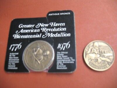 American Revolution CT & New Haven 1776-1976 Bicentennial Medals relief