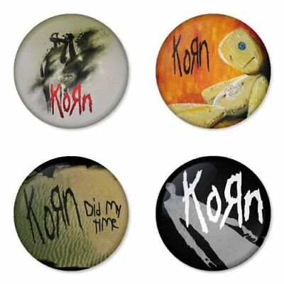 Korn, rock, metal, B - 4 chapas, pin, badge, button