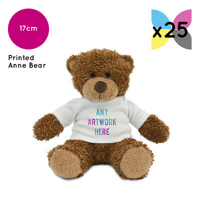 25 Personalised Anne Teddy Bears Promotional Logo Text Photo Printing Gifts Bulk