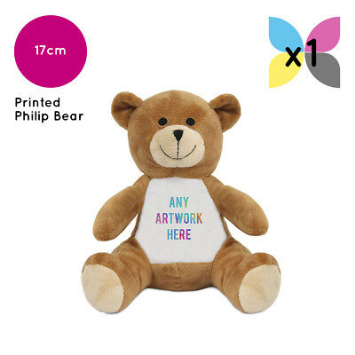 1 Personalised Soft Toy Philip Teddy Bear Printed Name Photo Image Or Text Gift