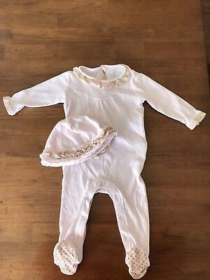 Burberry Infant Girls One Piece Footie with matching hat size 1M- Ice Pink