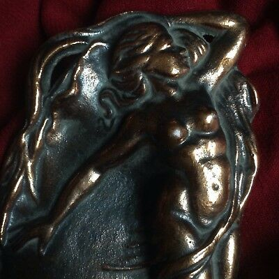 Antique Bronze Art Nouveau Nude Mermaid Siren Sea Naked Lady Jewelry Card Tray