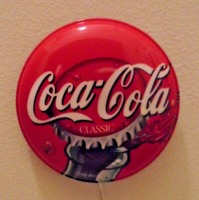 """Vintage Coca Cola Bottle Cap 15"""" Round Wall Light w/ New Bulb Works Great"""
