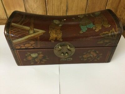 Antique Vintage Chinese Lacquered Gilt Hand Painted Pillow Box