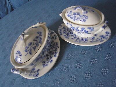 Antique Pair of Ridgways Blue & White Child's Miniature Toy Tureens.