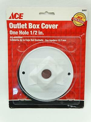 """NEW Ace 36493 White Round One Hole 1/2"""" All Weather Outlet Box Cover"""
