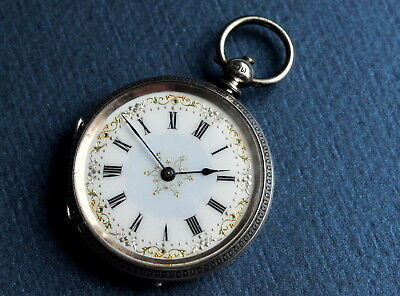 Beautiful Painted Dial Silver Keywind Fob Pocket Watch. 1882 Antique