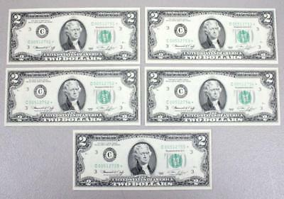 1976 Uncirculated $2.00 Bills **star Notes*** Consecutive Numbers (Lot Of 5)