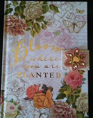 New Punch Studio Gold Foil Journal W Magnetic Brooch Closure Bloom Where Planted