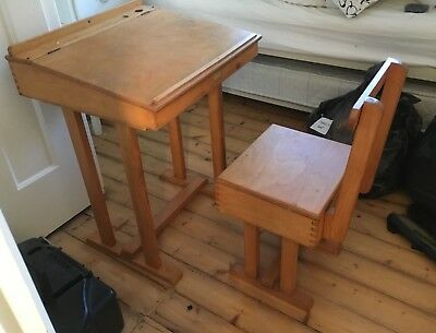 Vintage Child's wooden school desk and chair (with integral storage).
