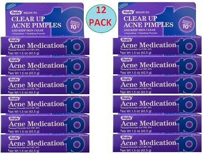 Benzoyl Peroxide 10% Acne Medication Generic OXY 10 Persa Gel 42.5 g 12 TUBES
