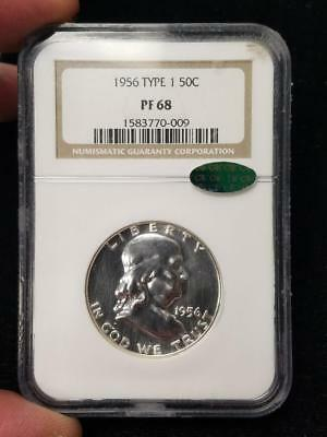 1956 Type 1 NGC PF 68 Franklin Silver Half Dollar 50 Cents CAC