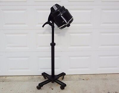 Vintage Art Deco FLOOR LAMP Industrial Black Chrome 1950's TURBINATOR Hair Salon