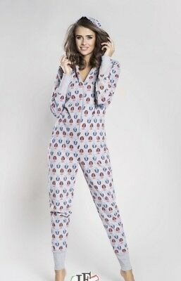 Women's/Ladies All in One Jumpsuit Pyjamas Onesie2 with Hood Size L NEW