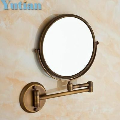 """Antique 8"""" Double Side Bathroom Folding Brass Shave Makeup Mirror Wall Mounted E"""