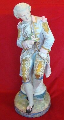 ANTIQUE 19th century FRENCH PORCELAIN FIGURE large size 23 inch (Author Signing)