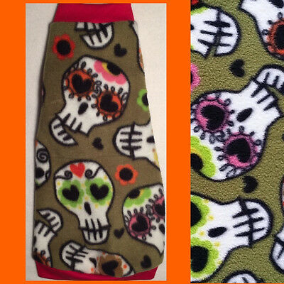 "Green Sugar Skull Fleece ""Trouble Maker"" Cat Clothes for Sphynx Hairless Cats"