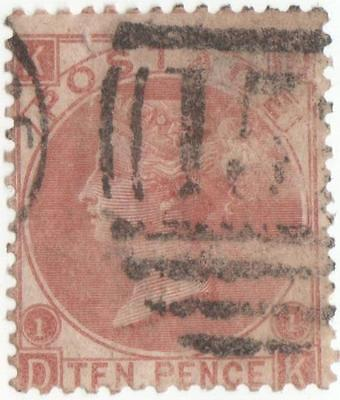 Qv 1867 S.g.113..10 Pence Pale Brown Plate 1 Used..s.g.2009 Cat Value 325 Pounds