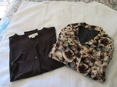 Lot 2: Women's Light Blazer blouses, Floral and solid, nice for fall, size PS/S