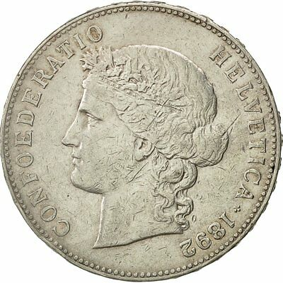 [#471878] Switzerland, 5 Francs, 1892, Bern, EF(40-45), Silver, KM:34