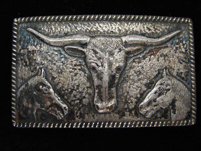 QC03160 VINTAGE 1950s *CATTLE HEAD & HORSE'S HEADS* WESTERN & COWBOY BELT BUCKLE
