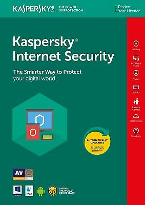 Kaspersky Internet Security 2017 / 2018 1PC/Gerät 1Jahr Lizenz Key Download