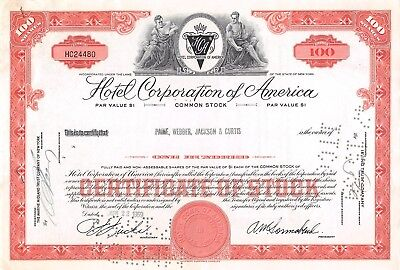 Hotel Corporation of America Stock Certificate 1959