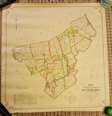 Fantastic 1930 Colored MAP OF THE PUBLIC ROADS IN NORTHAMPTON COUNTY, PA