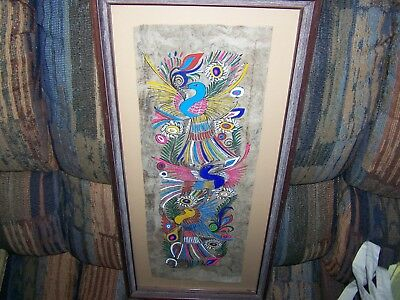 Rare!!! Striking Cancun Water Color Hand Painting on Papaya Nicely Wood Framed